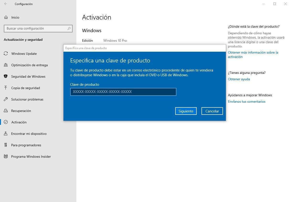 Activar Windows 10 desde Configuración